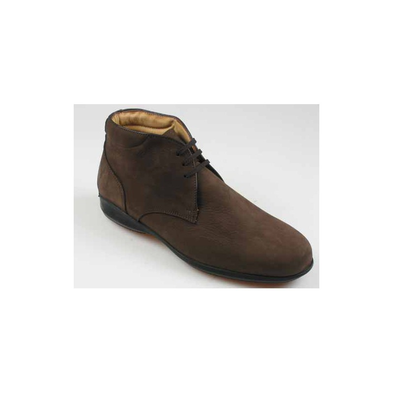 Anklehigh shoe for men with laces in brown nubuck leather - Available sizes:  45