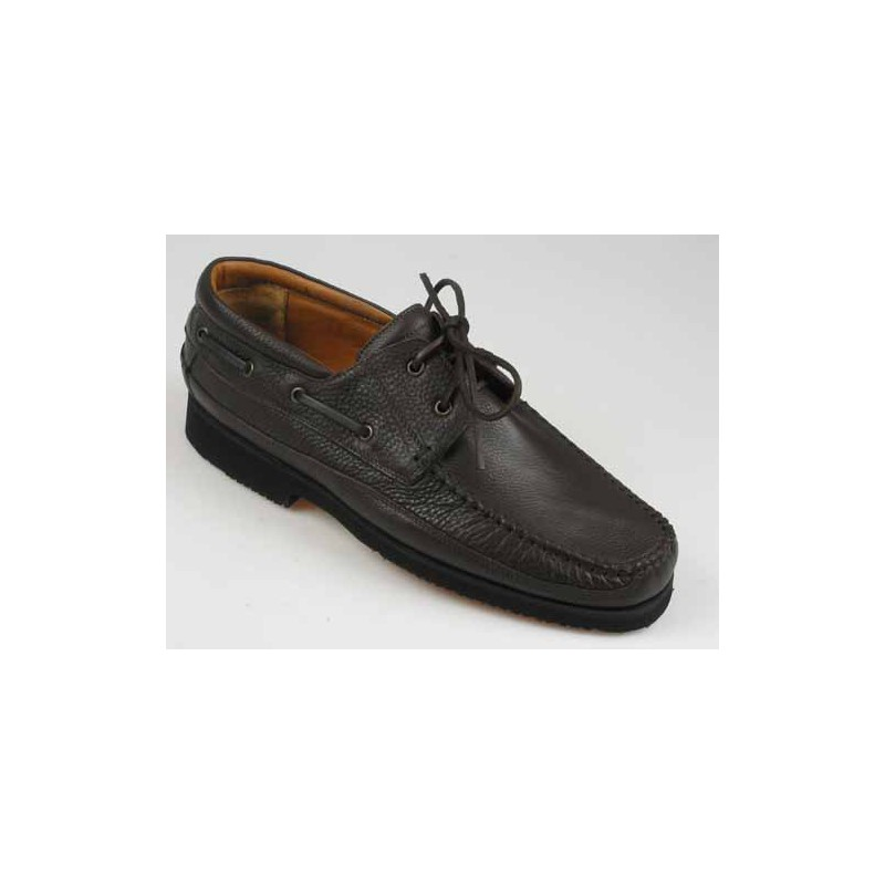 Mocassin with laces for men in brown leather - Available sizes:  51