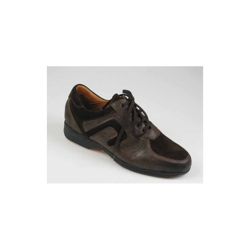 Men's laced shoe in brown leather and suede - Available sizes:  46