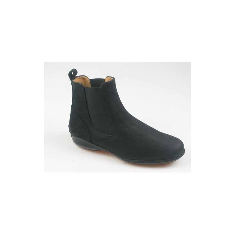 Bottines pour hommes en cuir nubuck noir avec élastiques - Pointures disponibles:  37, 40, 51