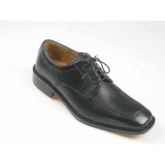 Men's laced derby shoe in black leather - Available sizes:  52