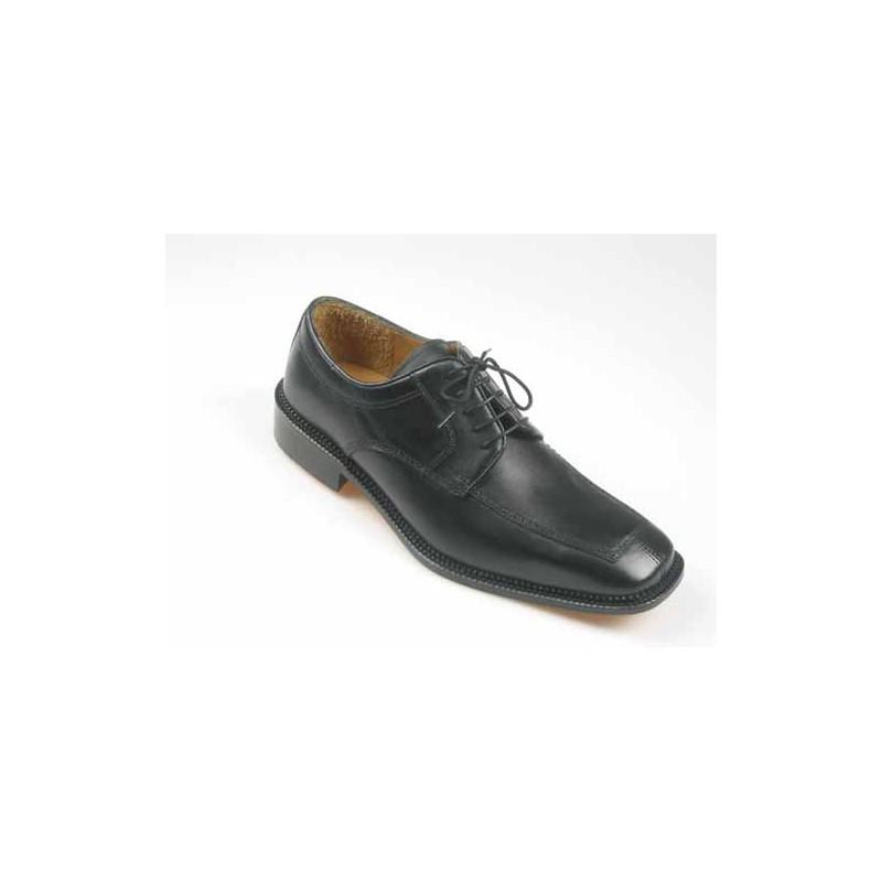 Zapato derby con cordones para hombres en piel negra - Tallas disponibles:  52
