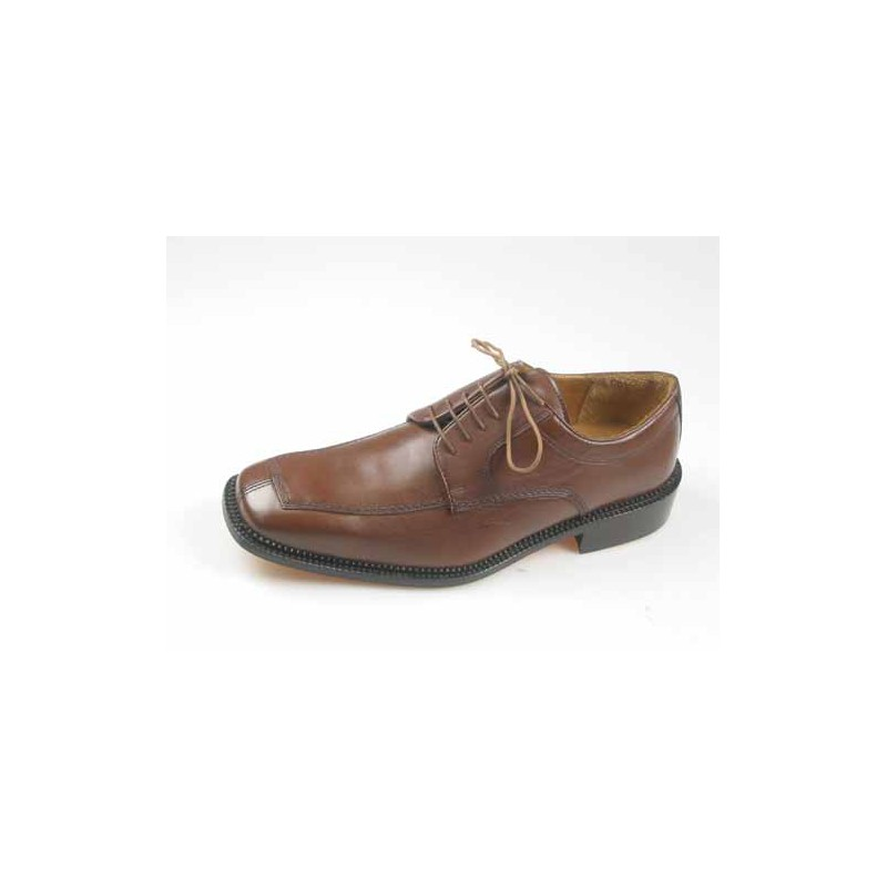 Men's laced derby shoe in brown leather - Available sizes:  46, 52