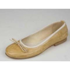 Ballerina da donna con fiocco in pelle beige tacco 1 - Misure disponibili: 32