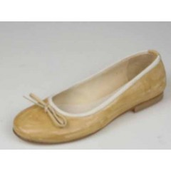 Woman's ballerina with bow in beige leather heel 1 - Available sizes:  32