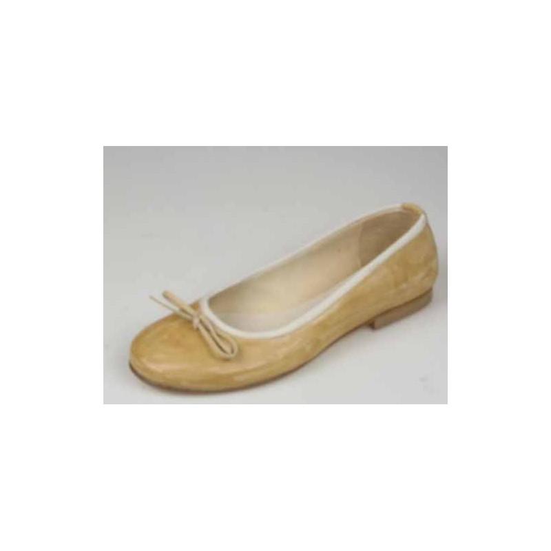 Ballerine avec noeud pour femmes en cuir beige talon 1 - Pointures disponibles:  32