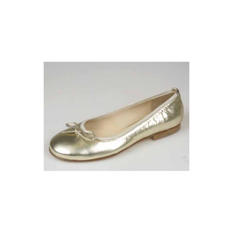 Ballerina in platincoloured leather - Available sizes: 32