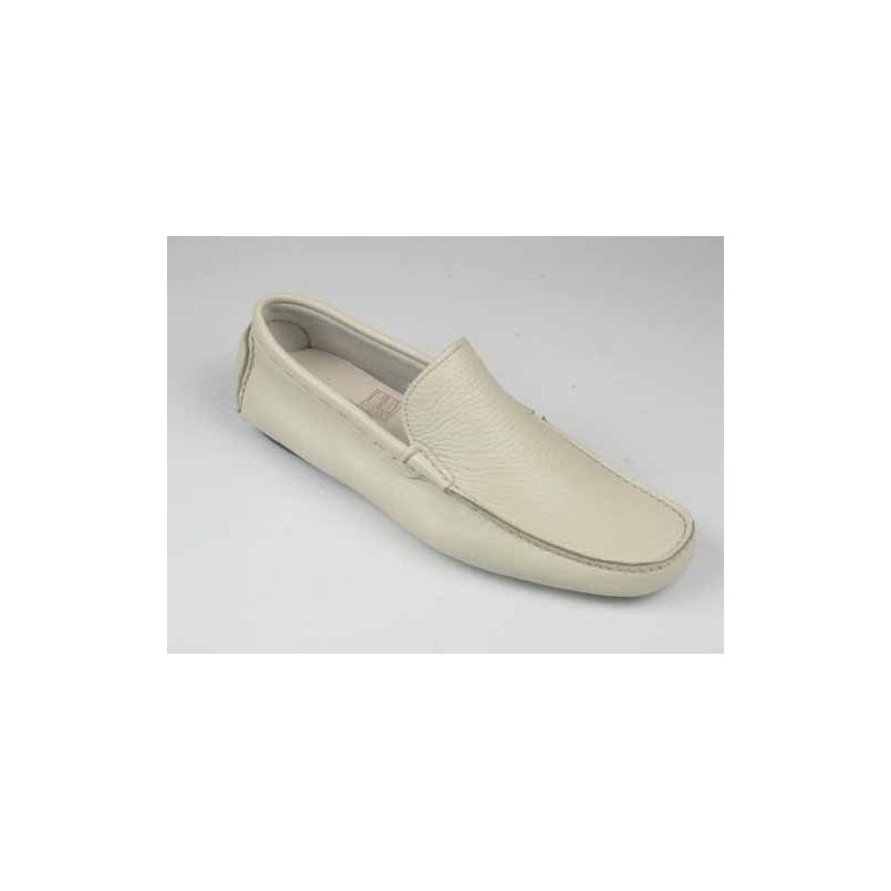 Mocassin pour hommes en cuir blanc fumée - Pointures disponibles:  39