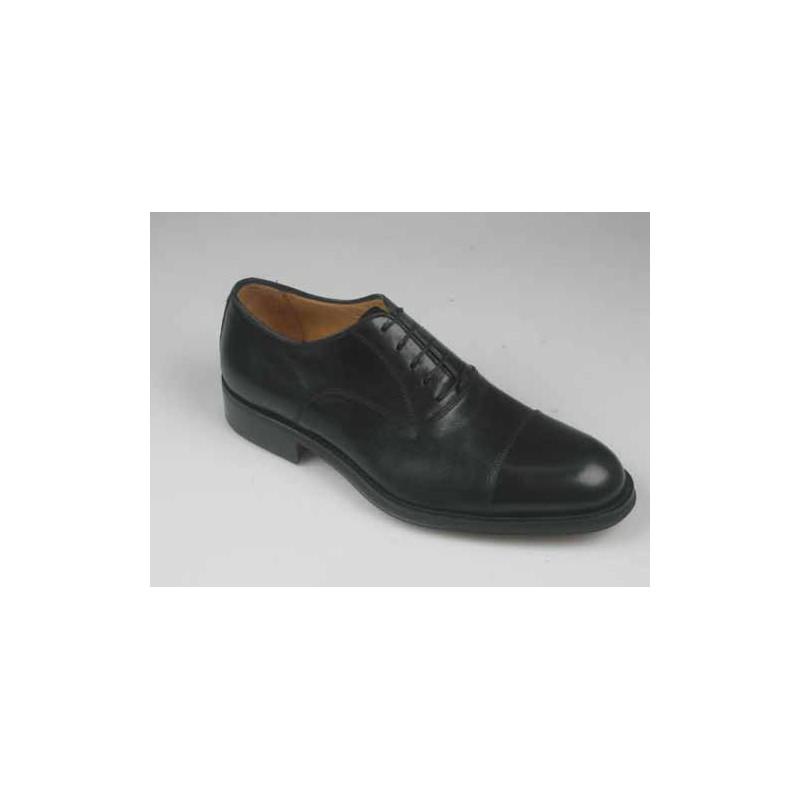 Chaussure élégante oxford à lacets et bout droit en cuir noir - Pointures disponibles:  51, 52