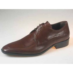 Men's laceup derby shoe in brown leather - Available sizes:  50