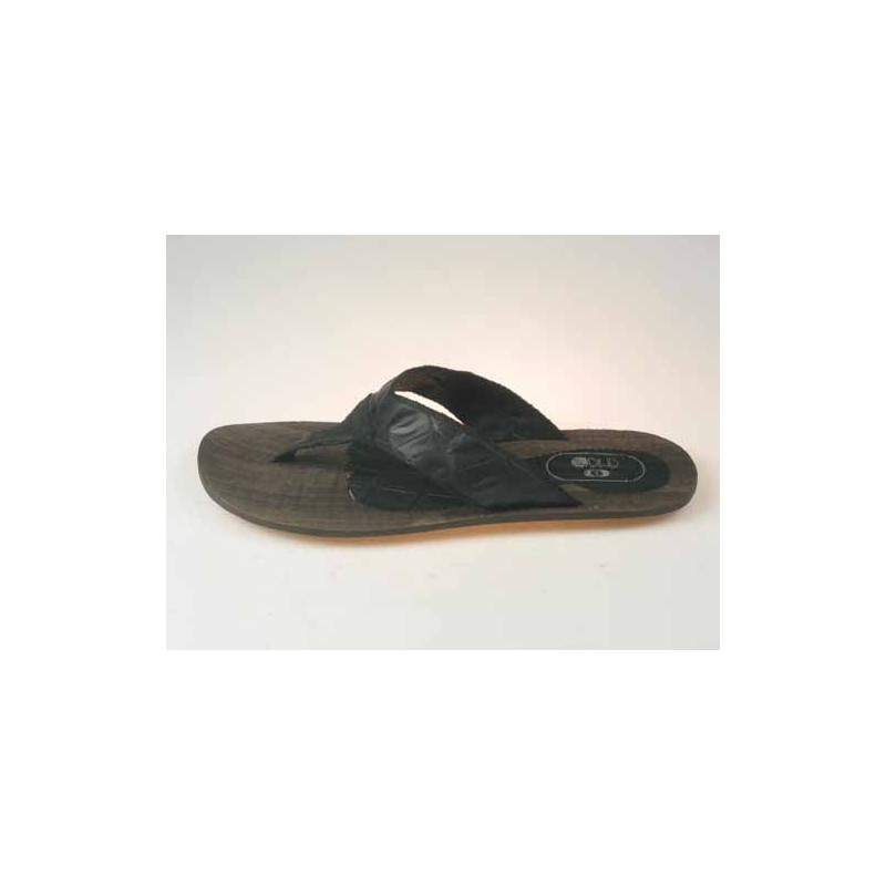 Men's flip-flop mules in black printed leather - Available sizes:  47