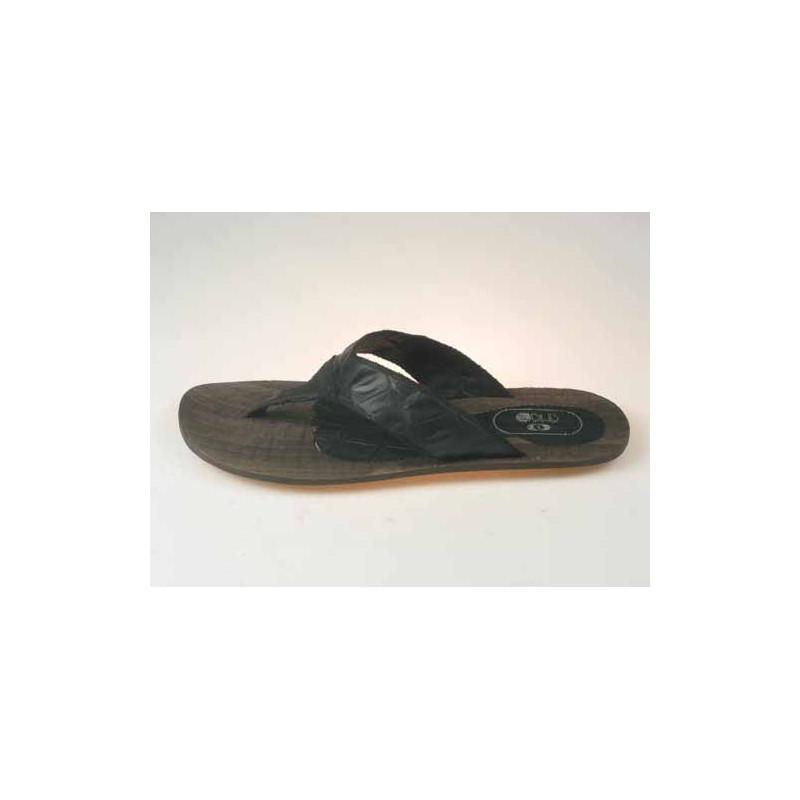 Zehenpantolette für Herren aus schwarzem gedrucktem Leder - Verfügbare Größen:  47