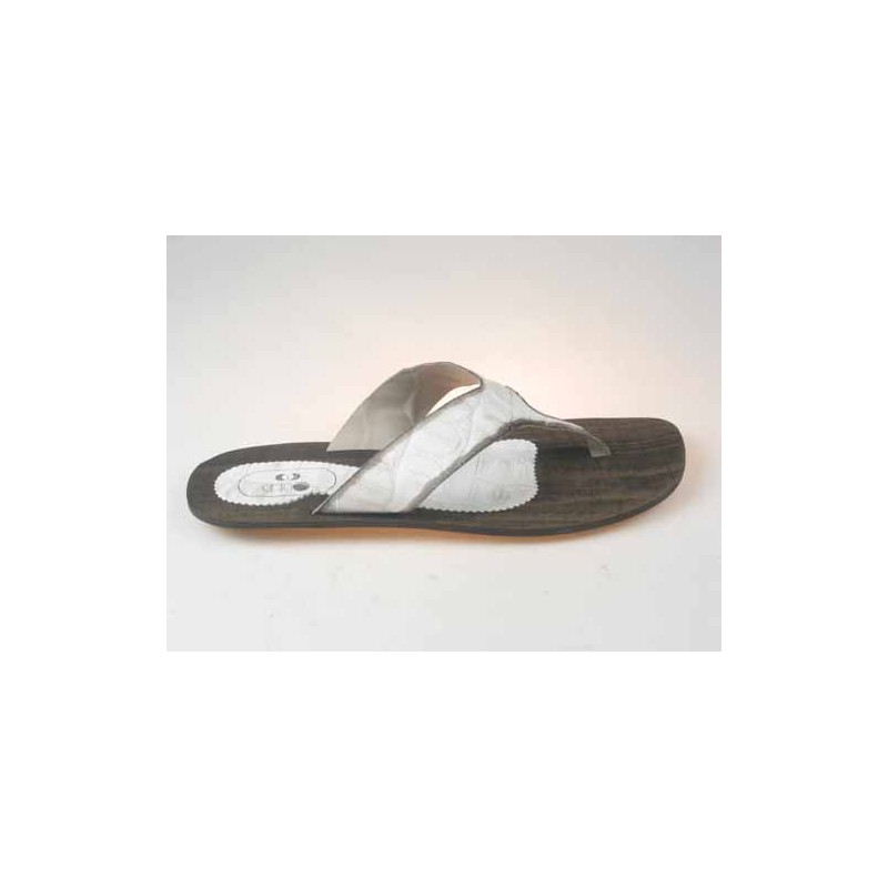Men's flip-flop mules in white printed leather - Available sizes:  47