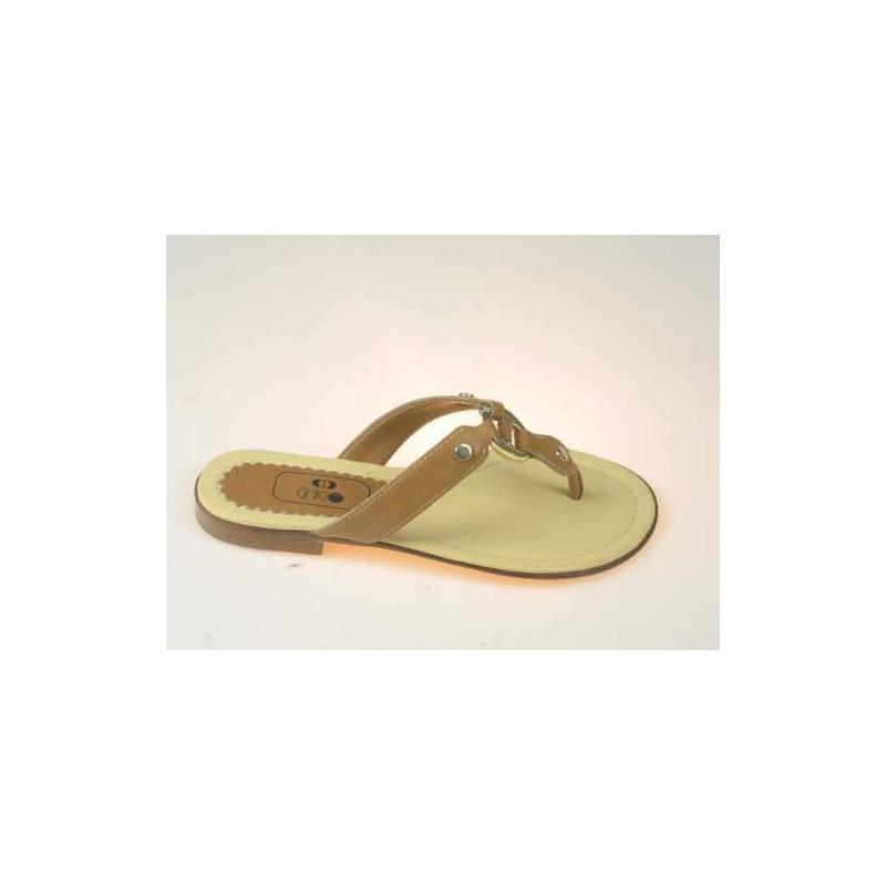 flop avec clip en cuir brun clair - Pointures disponibles:  32