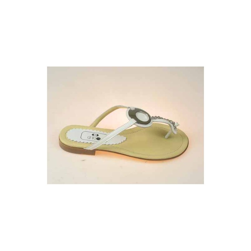 Flipflop mule with accessory in white patent leather heel 1 - Available sizes:  34