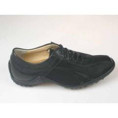 Scarpa sportiva stringata da uomo in pelle e tessuto nero - Misure disponibili: 36, 37, 46