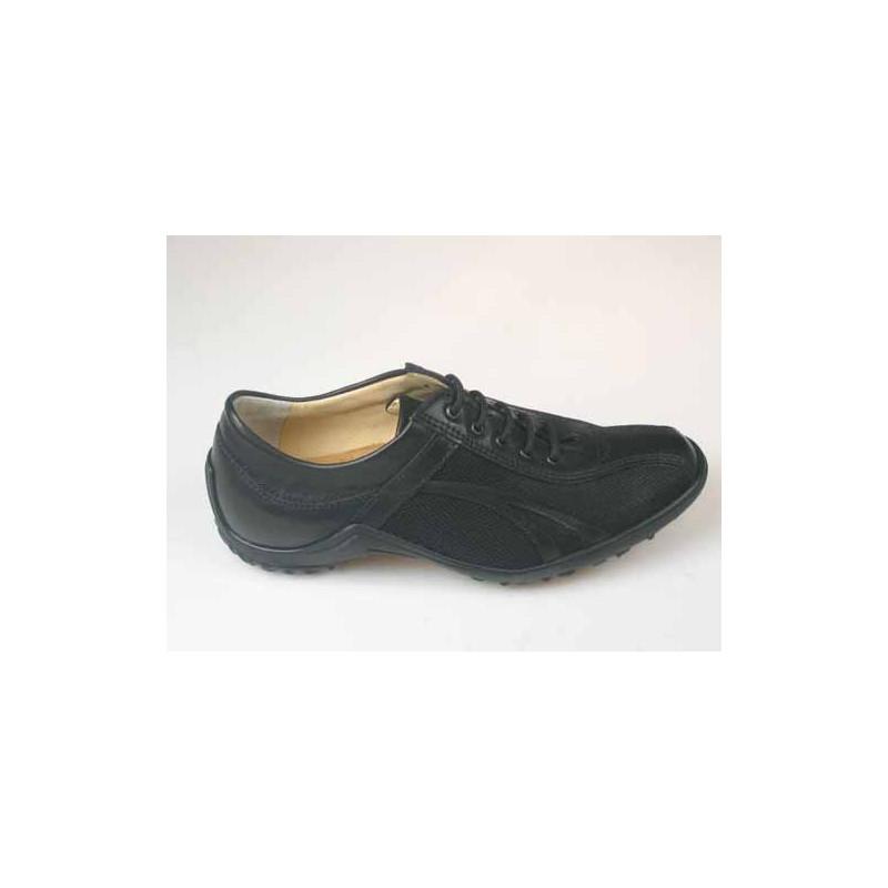 Chaussure sportif à lacets pour hommes en cuir et tissu noir - Pointures disponibles:  36, 37, 46