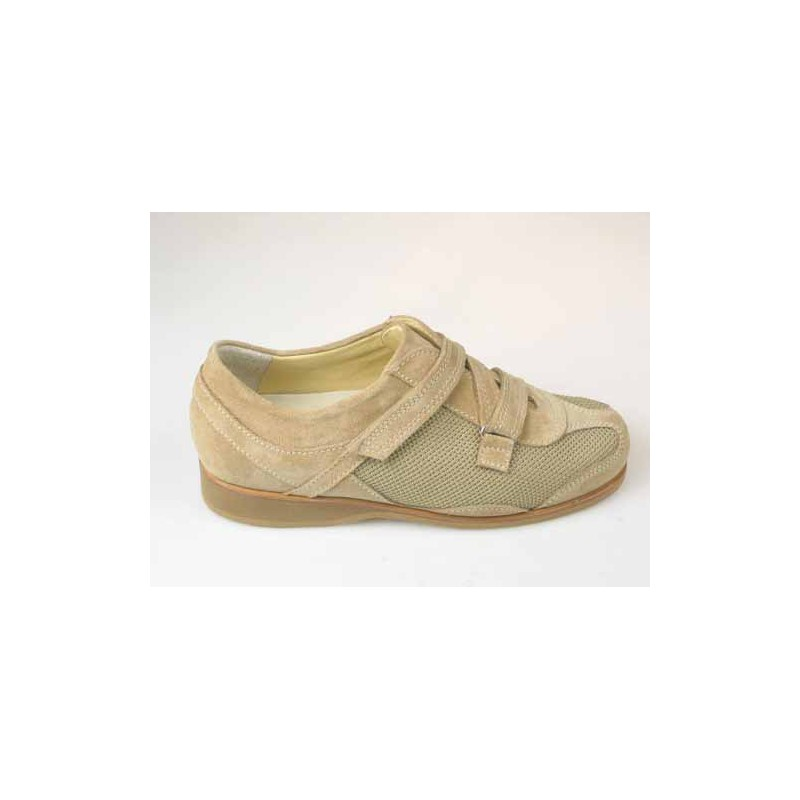 Men's casual shoe with velcro in beige suede and fabric - Available sizes:  36, 37