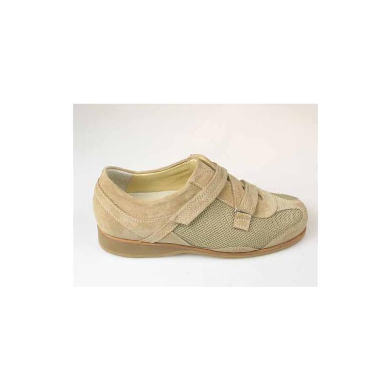 Zapato deportivo para hombre con velcro en gamuza y tejido beis - Tallas disponibles:  36, 37