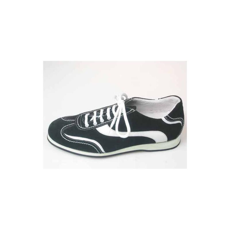 Zapato deportivo con cordones para hombre en gamuza negra y piel blanca - Tallas disponibles:  36, 40, 45