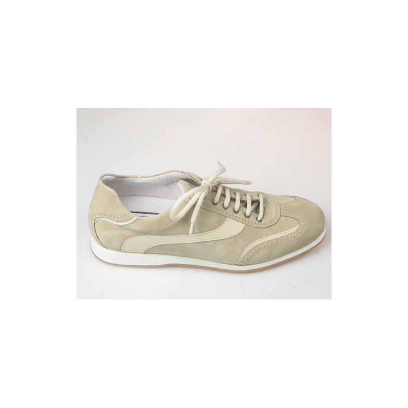 Men's sports shoe with laces in beige suede and leather - Available sizes:  36, 40, 41, 44