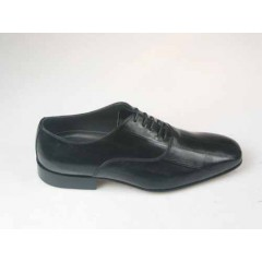 Men's elegant laced Oxford shoe in black leather - Available sizes:  50, 52
