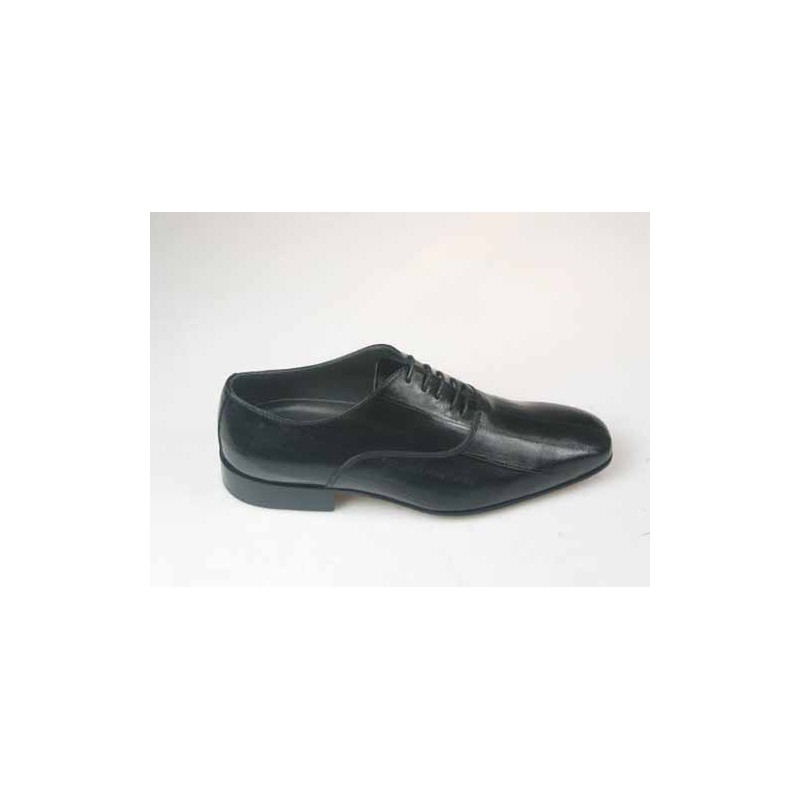 Elegant laceup Shoe in black eel leather - Available sizes:  50, 52