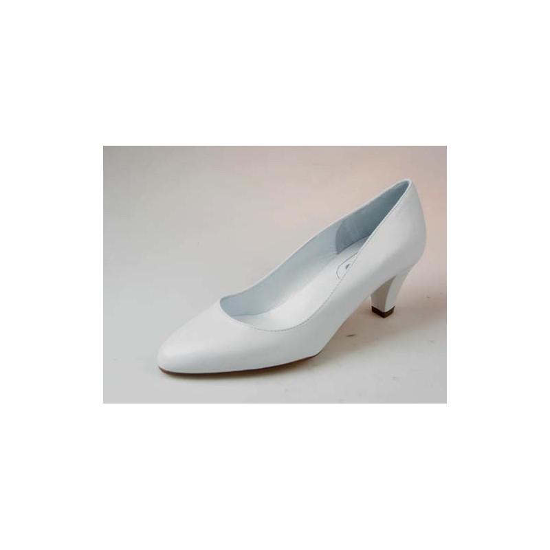 Escarpin en cuir blanc talon 1 - Pointures disponibles:  33