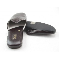 Men's slippers in dark brown leather - Available sizes:  47, 48