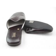 Zapatilla de casa en piel color marron oscuro - Tallas disponibles:  47, 48
