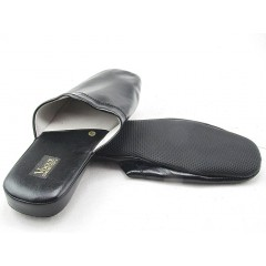 Men's slippers in black leather - Available sizes:  47, 48, 49, 52
