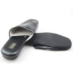 Pantofola da uomo in pelle nera - Misure disponibili: 47, 48, 49, 52