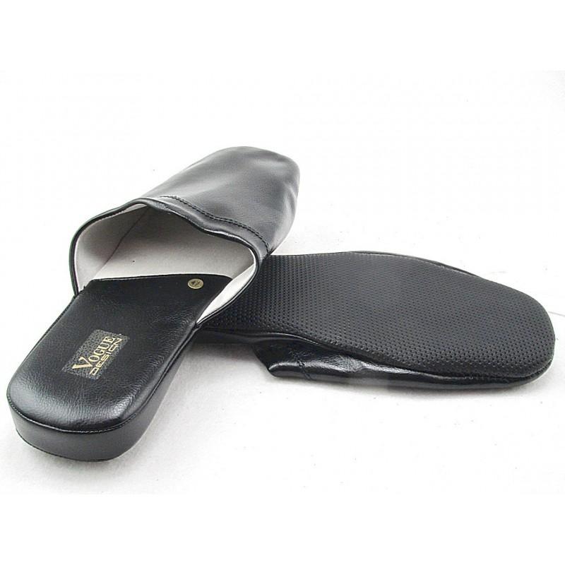 Chausson pour hommes en cuir noir - Pointures disponibles:  47, 48, 49, 50, 51, 52