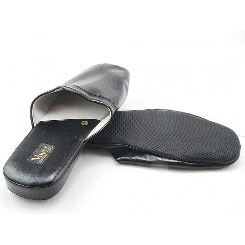 Men's slippers in black leather - Available sizes:  47, 48, 49, 50, 51, 52