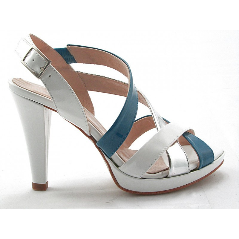 Woman's platform sandal with elastic band in white, blue and silver patent leather heel 9 - Available sizes:  42