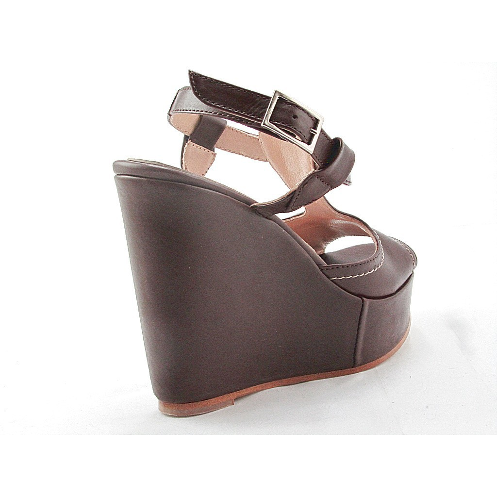 small or large wedge sandal in dark brown leather