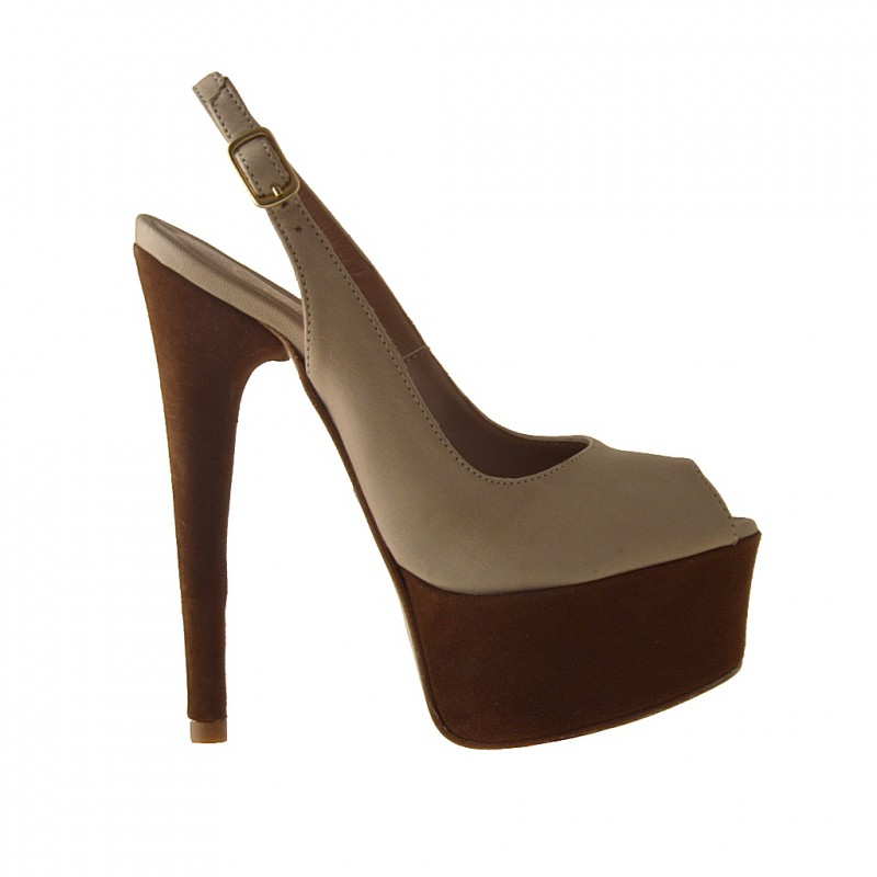 Platform sandal in beige leather and brown suede - Available sizes:  42