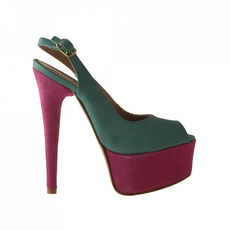 Sandale avec plateforme en cuir turqoise et daim fuchsia talon 15 - Pointures disponibles:  42
