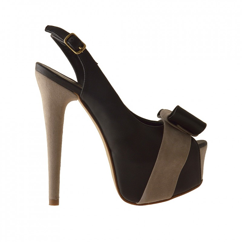 Platform sandal in black leather and beige suede - Available sizes:  31, 42