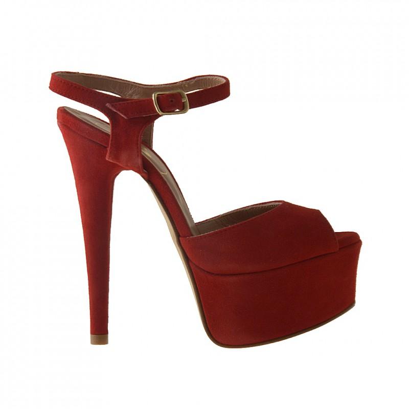 sandale plate-forme en daim rouge - Pointures disponibles:  42