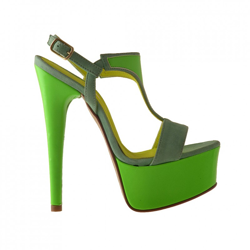 Platform sandal in green suede and patent leather - Available sizes:  42