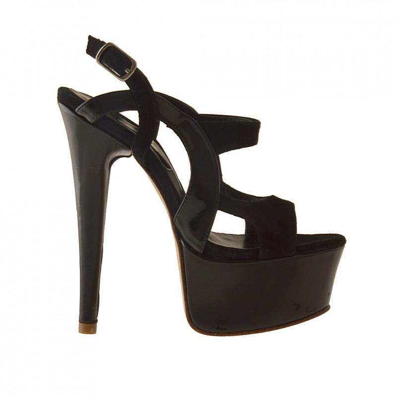 sandale plate-forme en daim noir et cuir verni - Pointures disponibles:  42