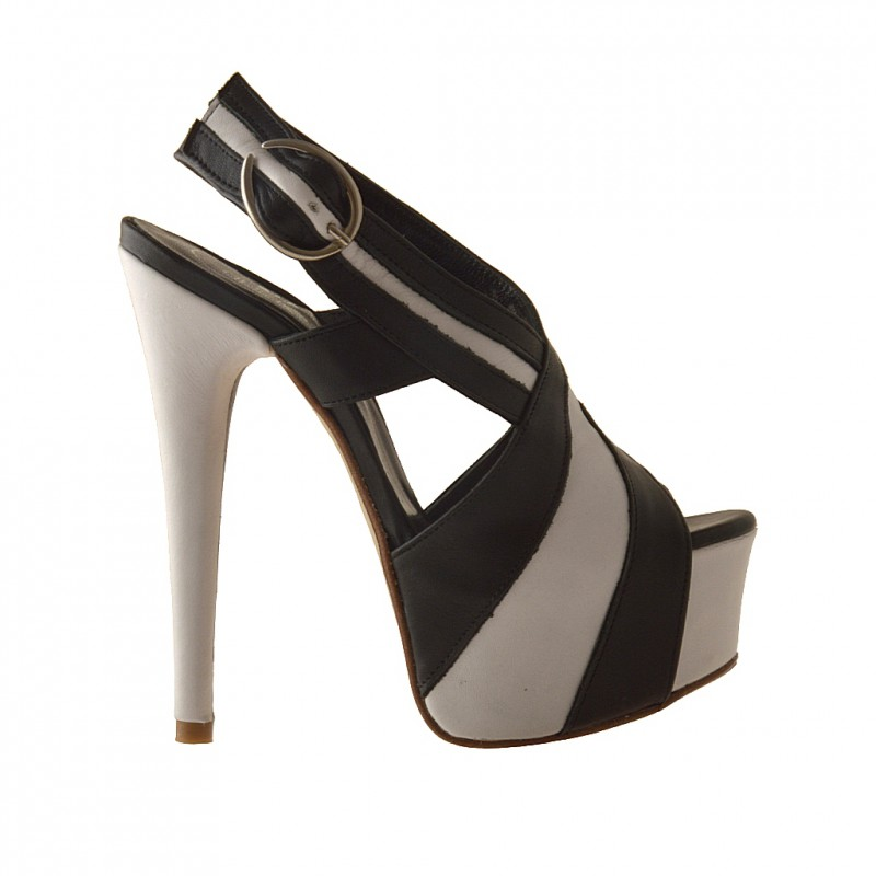Platform sandal in black and white leather - Available sizes: 42