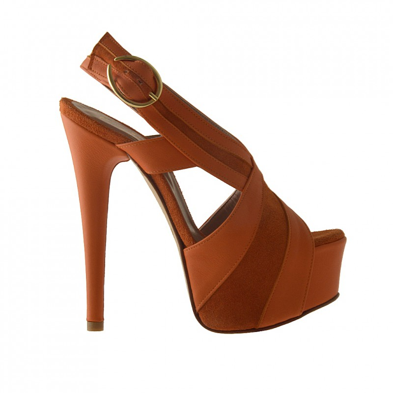 Platform sandal in orange suede and leather - Available sizes:  42