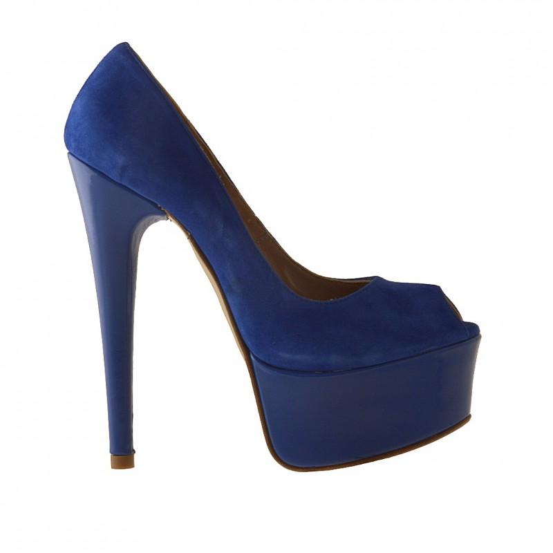 Chaussure ouvert avec plateforme en daim et cuir verni bleu talon 15 - Pointures disponibles:  42