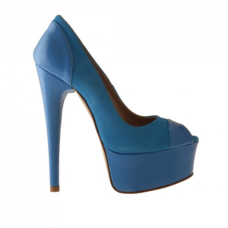 Opentoe platform pump in light blue suede and patent leather heel 15 - Available sizes:  42