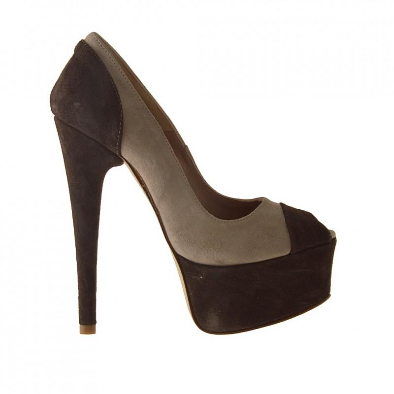 Open orteils avec plate-forme en daim beige et brun - Pointures disponibles:  42
