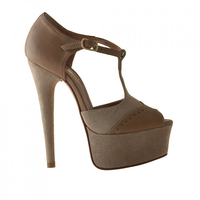 Open platformshoe with Tstrap in beige leather and suede - Available sizes:  42