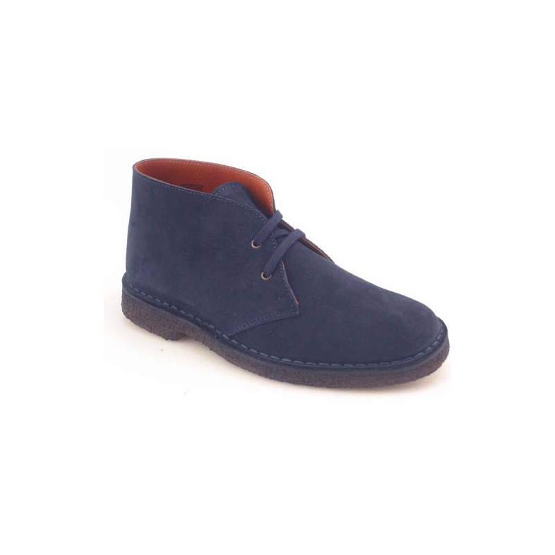 Men's sportive laced ankle shoe in blue suede - Available sizes:  36, 40