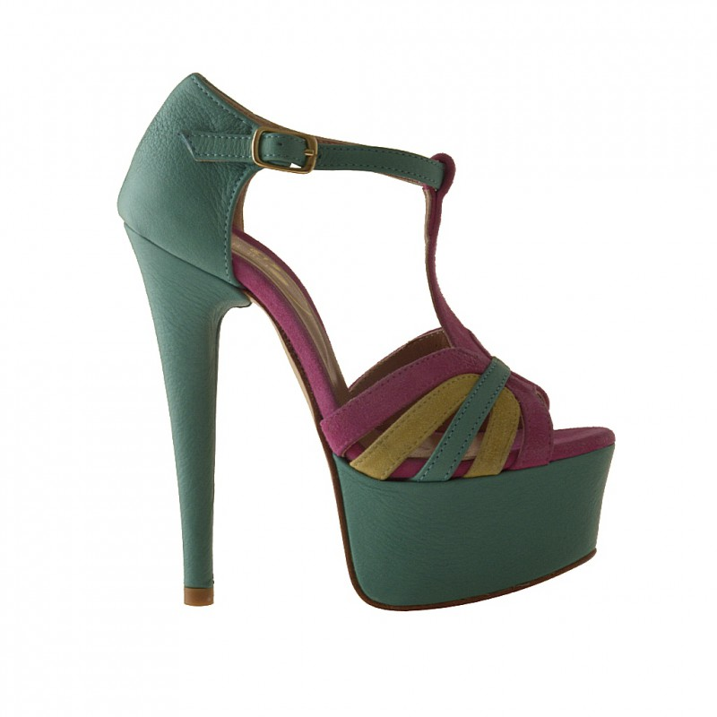 Open platformshoe with Tstrap in green leather and fuchsia and yellow suede - Available sizes:  42